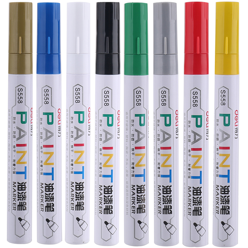 Deli 8 couleurs ensemble marqueur stylo rapide sec Permanent huileux pour CD bois tissu roche verre pneu peinture école bureau papeterie cadeau