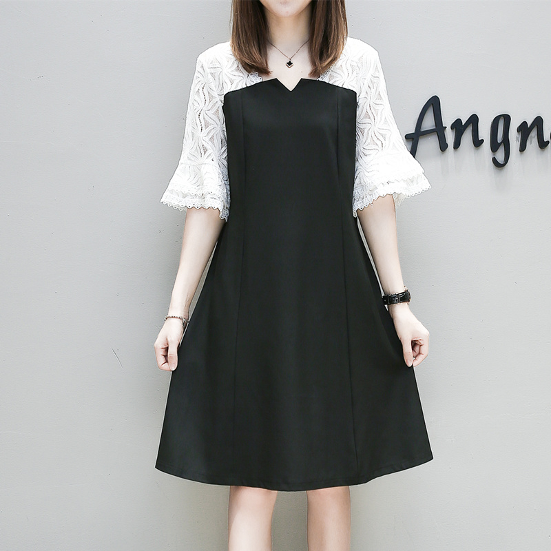 ff04c09d0a8 5xl plus big size women clothing 2017 spring summer style autumn korean  lace stitch cute sweet casual party dress female A4378-in Dresses from  Women s ...