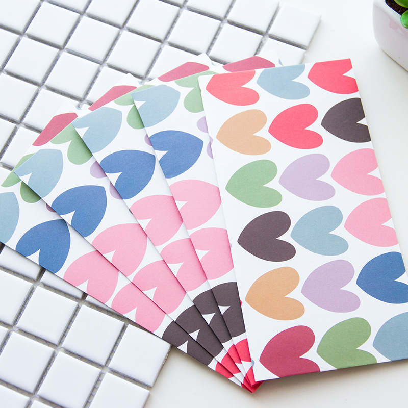 10PCS Sweet Hearts Dots Paper Envelope Gift Wrap DIY Tool Greeting Card Cover Giftbox Decor Letter Writing