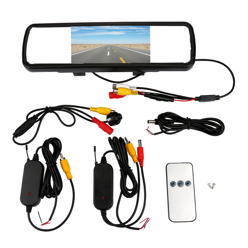 4.3 LCD Screen Car Rear View Mirror Monitor+360 Rotatable Camera Wireless Kit dash camera 4k dvr car recorder dashcam dual intelligent quad channel car camera video recorder dvr for rear front side view camera four split screen with remote controller