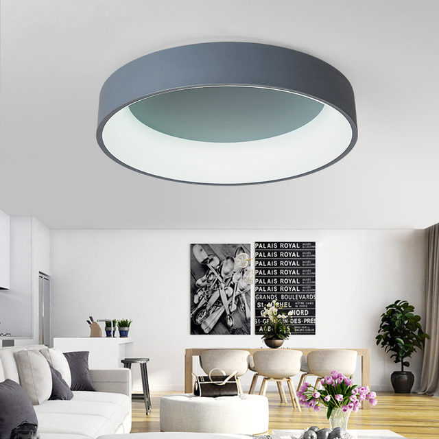 NEO Gleam White/Grey Round Modern Led Ceiling Lights For Study Kids Room Bedroom AC85-265V Home Dec Modern Led Ceiling Lamp