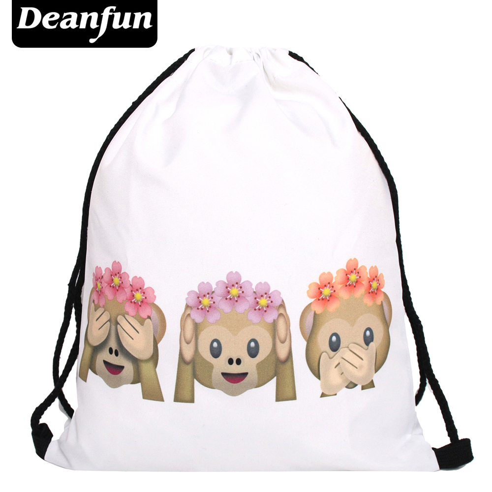 Deanfun Emoji Backpack 2016 New Fashion Women Backpacks 3D Printing Bags Drawstring Bag For Men s77 jasmine traveling unisex graffiti backpacks 3d printing bags drawstring backpack sep28