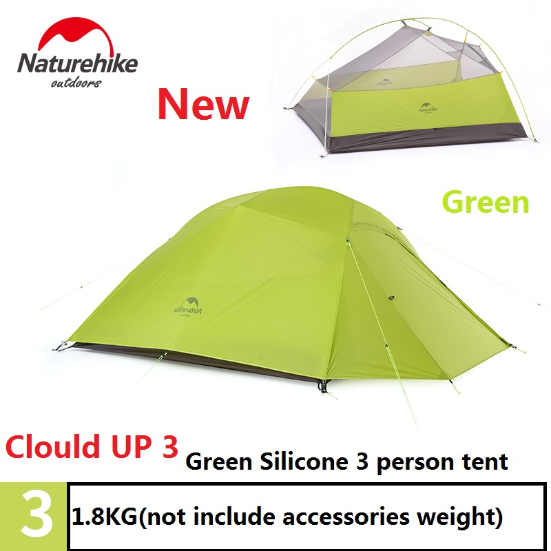 Naturehike factory sell 1 Person/2 person/3 person Tent green 20D Silicone Fabric Double-layer Camping Tent Lightweight naturehike factory store 2 person tent 20d silicone fabric double layer camping tent lightweight only 1 24kg dhl free shipping