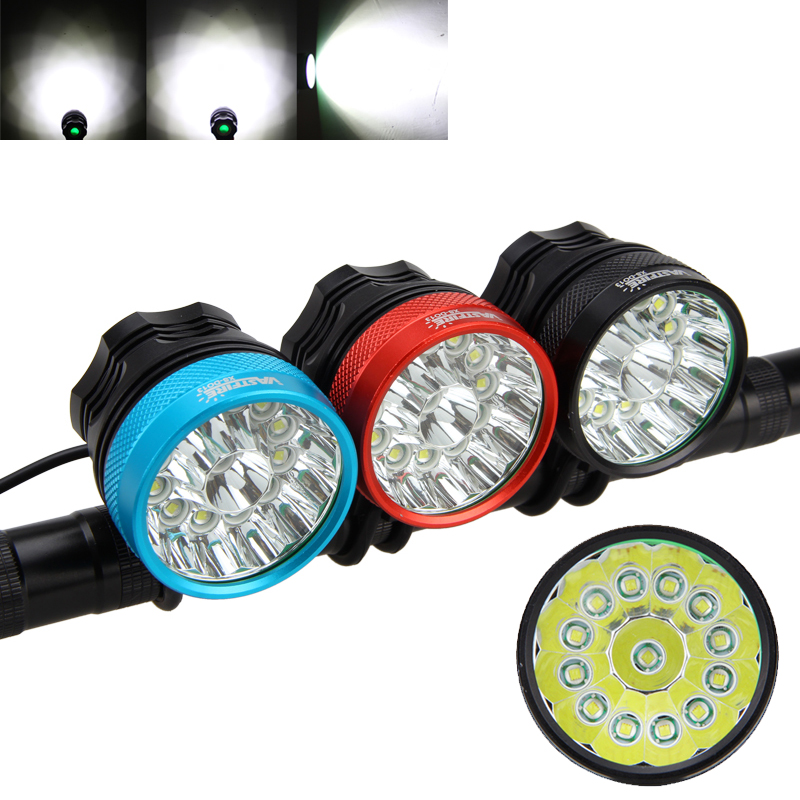 Strong 2000LM 13*XML T6 Led Bicycle Light 2 in 1 Cycling Head Lamp Bike Torch with 6*18650 Battery Pack 3 Colors