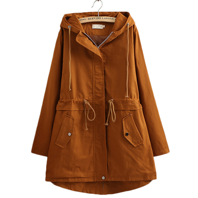 2019 New Female Windbreaker Coats High Quality Large Size 4XL Long Hooded Outerwear Loose Spring Autumn   Trench   Coat Women Tops