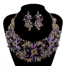 Statement Necklace Set Wedding Party Purple color rhinestone Jewelry sets For Brides Dress Jewelry Accessories Women Gift