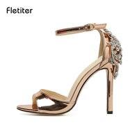 Fletiter סקסיות ליידי קריסטל ריינסטון פגיון אישה סנדלי עקבים דקים נשים נעלי נעלי קרסול רצועת שמלת חתונת גודל משאבה 41