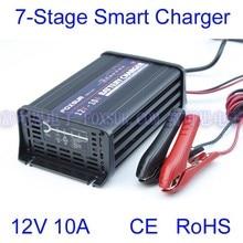 FOXSUR hurtownie oryginalny 12 V 10A 7-stopniowy inteligentny Lead Acid Battery Charger ładowarka Samochód Aluminium ładowarki impulsowe 180-260 V w