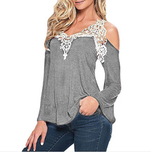 V Neck Lace and Crochet Off Shoulder Blouse
