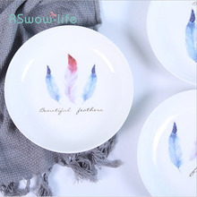 Creative Feather Ceramic Disc Serving Dishes Home Food Western Steak Plate Tableware For Kitchen Supplies