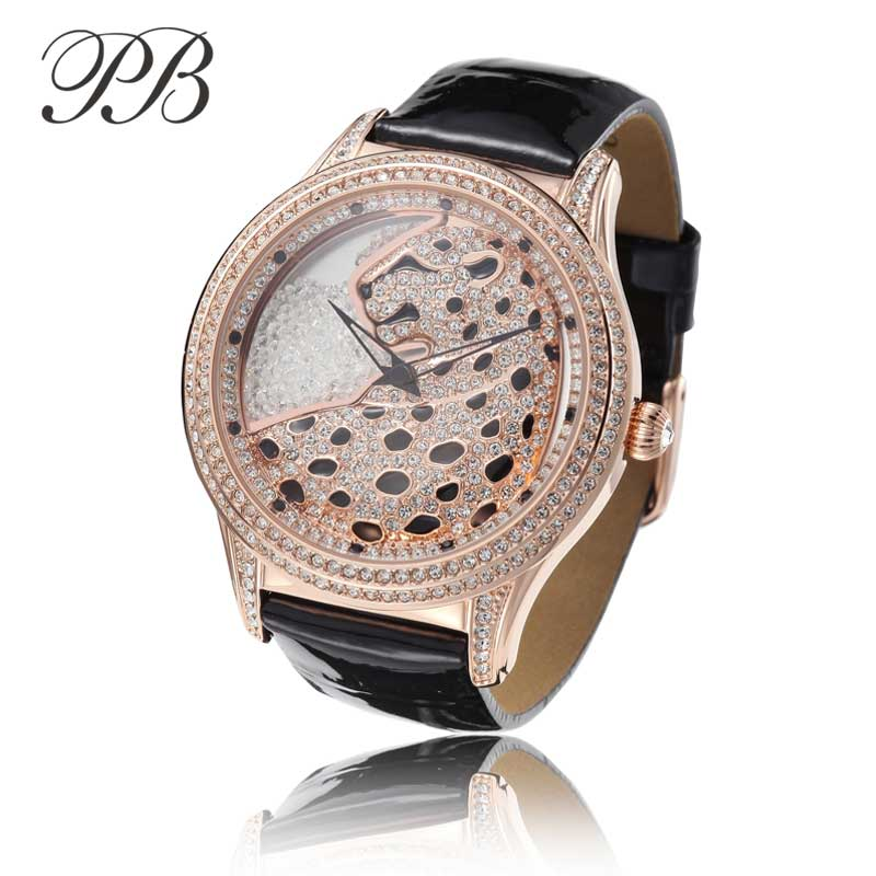 PB Princess Butterfly Fashion Rhinestone Ladies Watch Läderrem Vattentålig OEM Luxury Quartz Kvinnor Klockor HL586