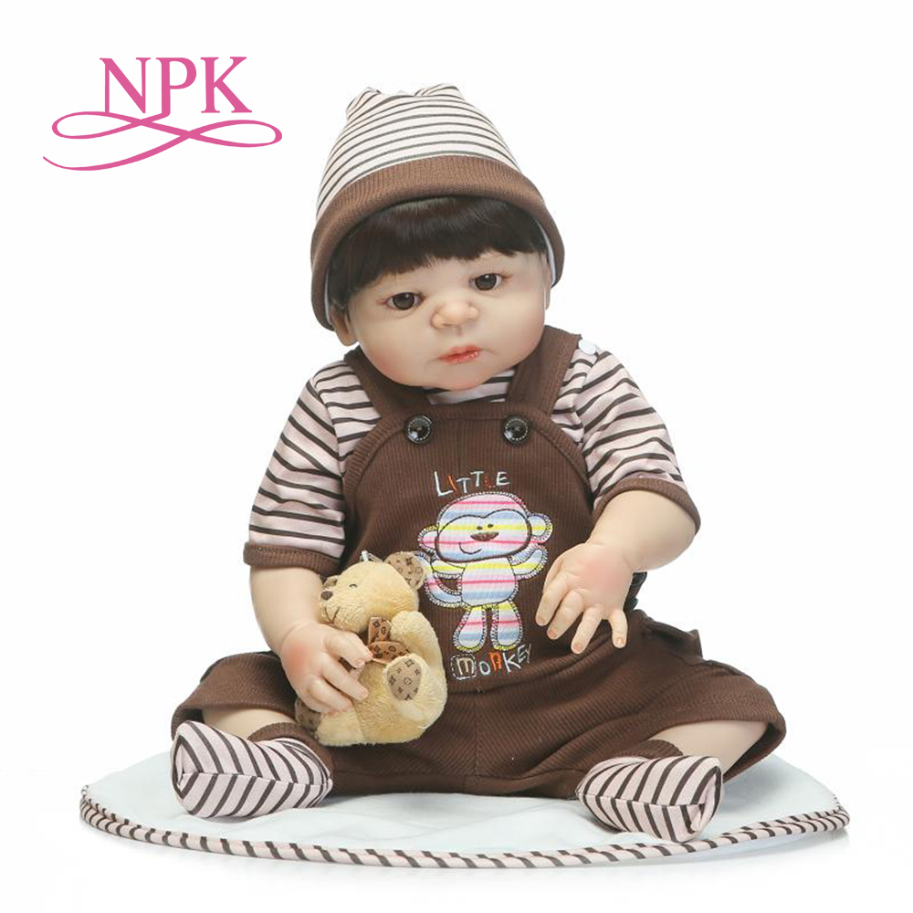 NPK 55cm full silicone sumilation newborn baby boy with black pasted hair silicone reborn baby doll gifts and toys for kidsNPK 55cm full silicone sumilation newborn baby boy with black pasted hair silicone reborn baby doll gifts and toys for kids