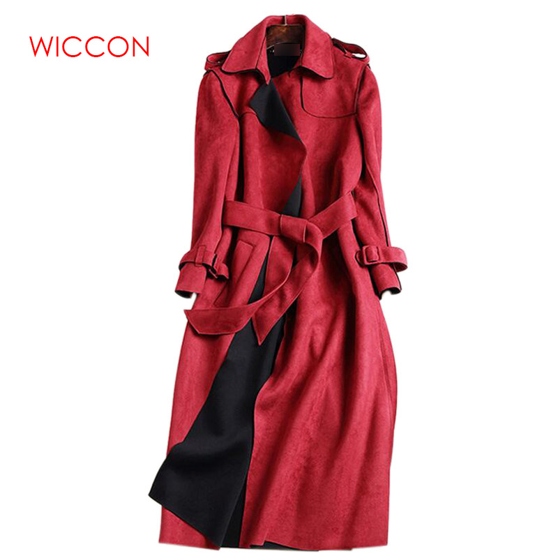 2019 New Autumn Suede   Trench   Coat Women Mujer Long Elegant Outwear Female Overcoat Slim Red Suede Cardigan   Trench