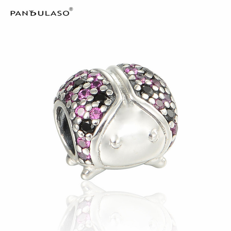 Pandulaso Brand Logo Women Fashion Silver 925 DIY Jewelry Ladybug Crystal Beads for Jewelry Making Fit DIY Charms Bracelets