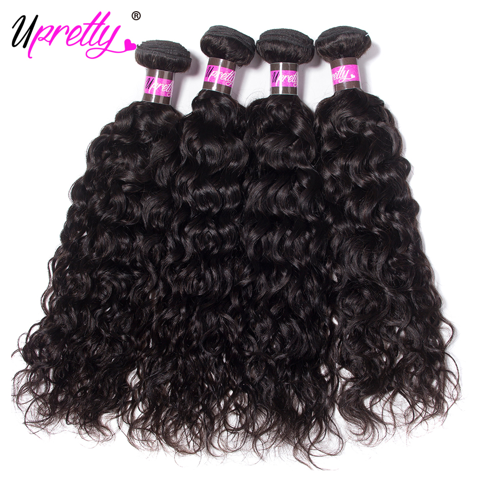 Upretty Hair Indian Water Wave 4 Bundles Remy Human Hair Extensions 10-28 Inch In Stock Natural Color Human Hair Weave Bundles