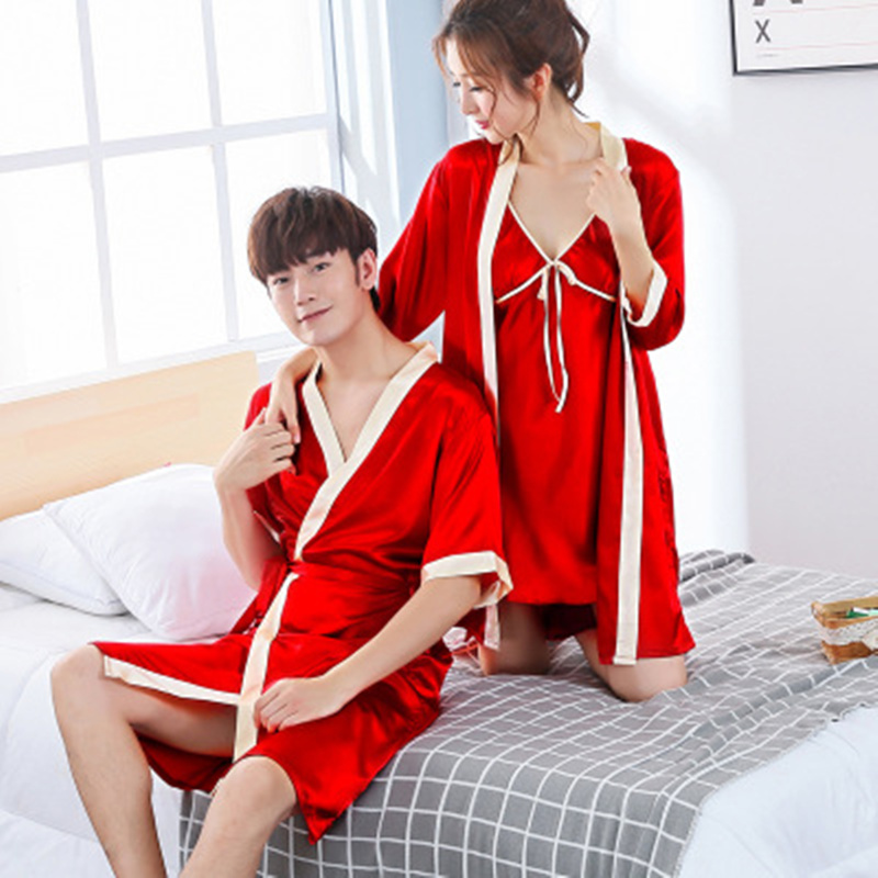 2017 new red satin silk couple robes men and women faux silk middle sleeve sexy thin bathrobe wedding bath robe for couple