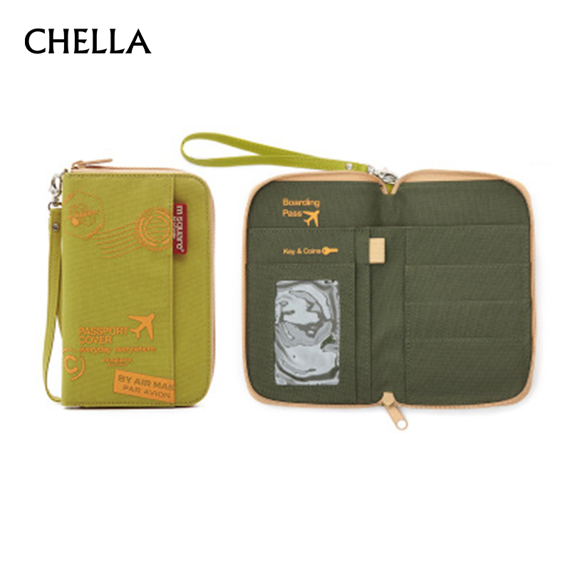 Men Women Travel Passport Holder Organizer ID Card Bag Passport Wallet Case Document Pouch Protective Sleeve Wrist Strap PC0062