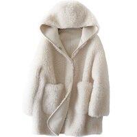 Натуральный мех пальто стрижки овец меха зимнее пальто Для женщин 2018 шерсть куртка корейский Исландия меха Короткие топы белого цвета паль