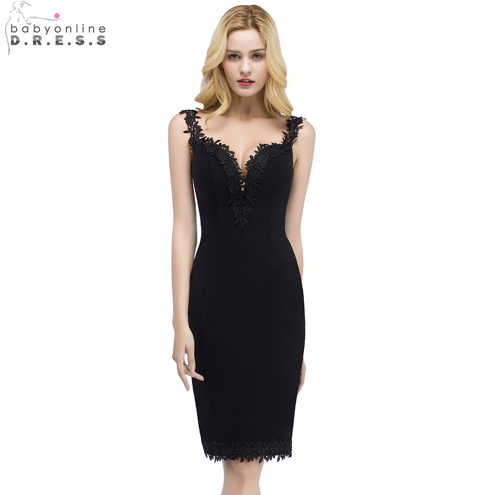 0163e51a6c1 Babyonline Сексуальная Милая черные коктейльные платья 2019 по колено  маленькое черное платье платья для вечеринок халат