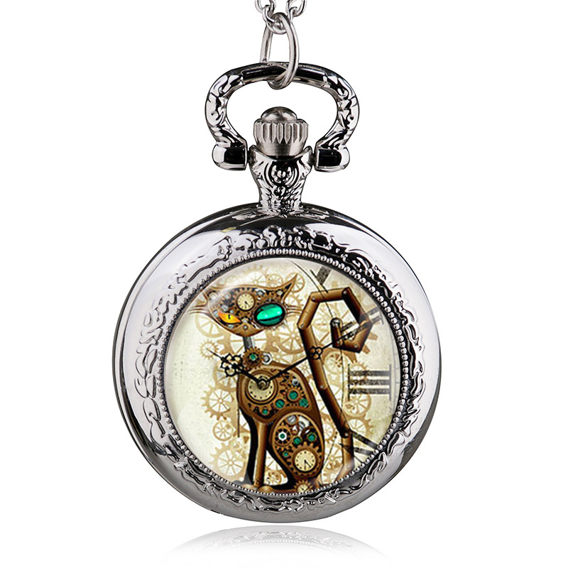 Vintage silver steampunk cat locket necklace pocket watch pendant vintage silver steampunk cat locket necklace pocket watch pendant men women necklace watches best gift in pocket fob watches from watches on aloadofball Choice Image