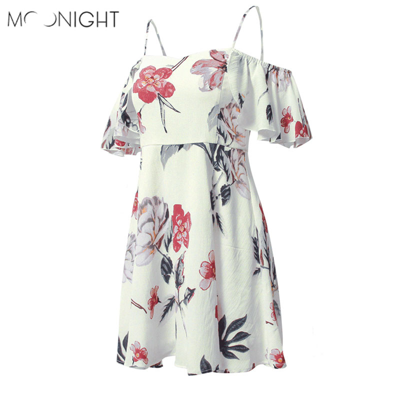 MOONIGHT Women Summer 2018 Beach Floral Bohemian Dress Loose Printing Sexy Off the Shoulder Flare Sleeve Emprie Slash Neck Dress