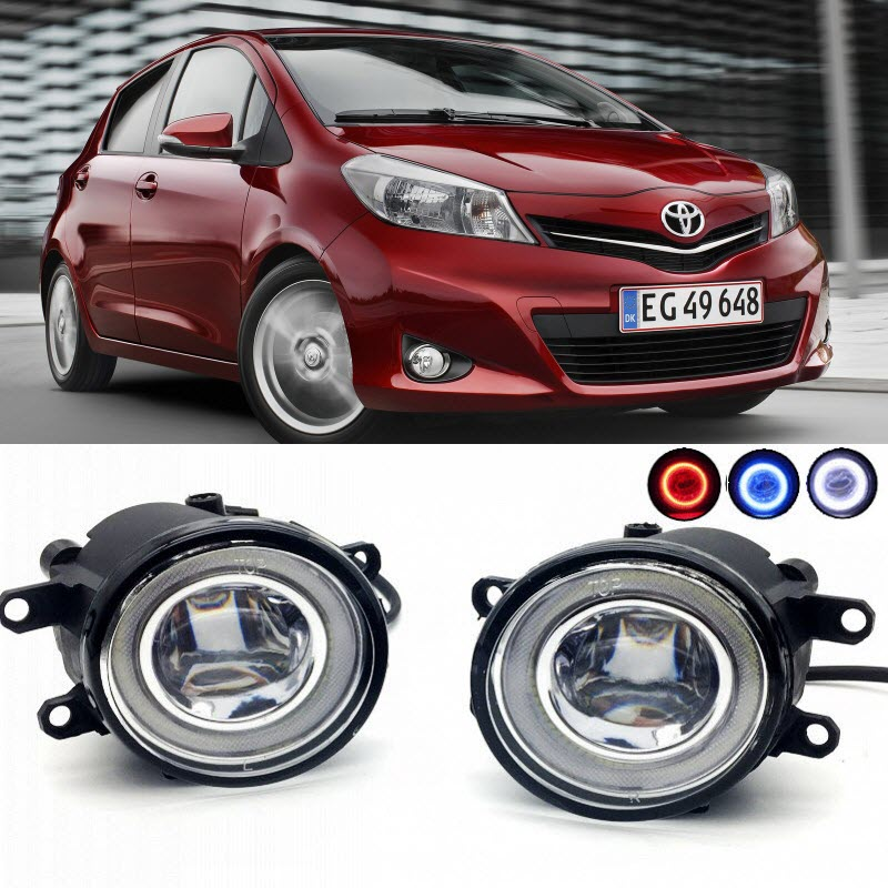 For Toyota Yaris Hatch Vitz 2006-2017 2 in 1 LED Cut-Line Lens Fog Lights Lamp 3 Colors Angel Eyes DRL Daytime Running Lights for opel astra h gtc 2005 15 h11 wiring harness sockets wire connector switch 2 fog lights drl front bumper 5d lens led lamp