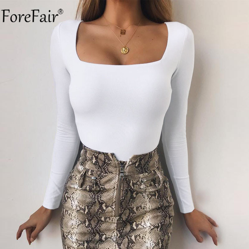Forefair Women Body Top Skinny Sexy Bodysuit Autumn Winter 2018 Ladies Black Red White Slim Square Collar Long Sleeve Bodysuit