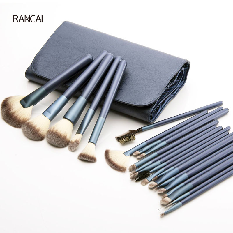 Professional 22pcs Makeup Brushes Kit Cosmetic Tools High Quality Fan Powder Foundation Brush pincel maquiagem with Leather Bag imersion малый объемный трезубец 267 темный imersion