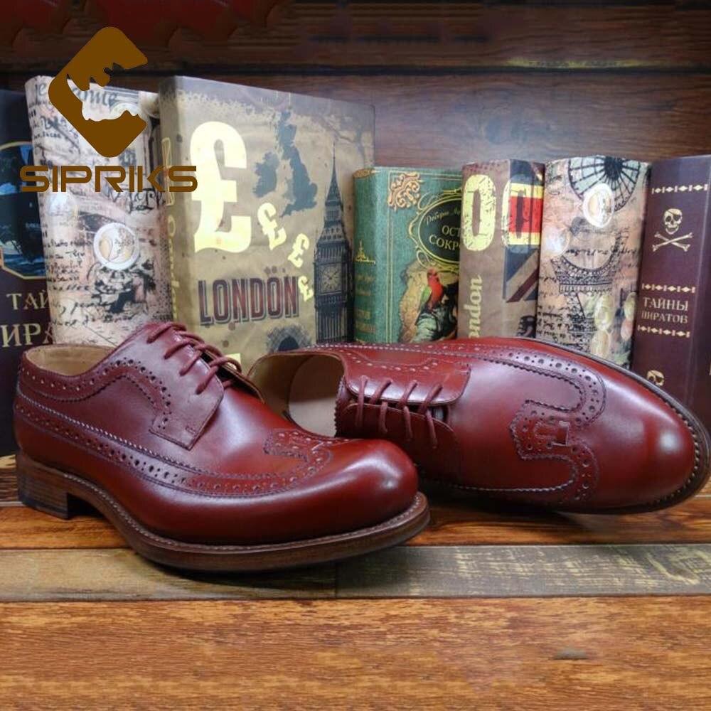 Sipriks mens red calf leather brogue 신발 수입 이탈리아 handmade goodyear welted shoes 클래식 빈티지 블랙 신발 신발 44-에서포멀 슈즈부터 신발 의  그룹 1