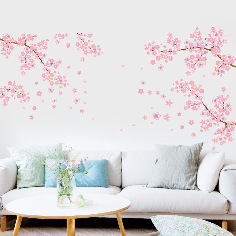 Pink Flower Branch Tree Cherry blossoms Home Decoration Wall Stickers Living Room Bedroom diy pvc Family Modern Wall Decal