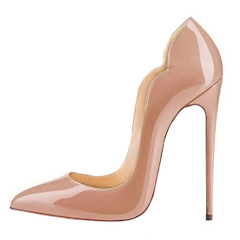 Noir Femme Mode gradient Sexy Stiletto pu Bout Haute jaune Talons 2019 Nouveau Nude Ciel blanc Color En noir Cuir Grande rose Ciel Taille Verni Aiguilles Bleu Pointu Blanc AZd5wqx