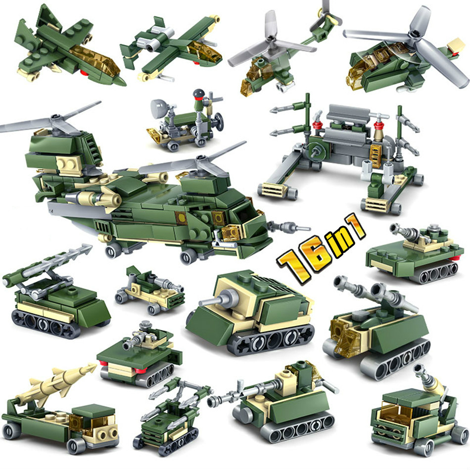 401pcs Building Blocks Military Weapons 16 Assemblage 1 KAZI Tank Self-Locking army Bricks Compatible Lepins model children Toys kazi military building blocks diy 16 in 1 world war weapons german tank airplane army bricks toys sets educational toy for kids