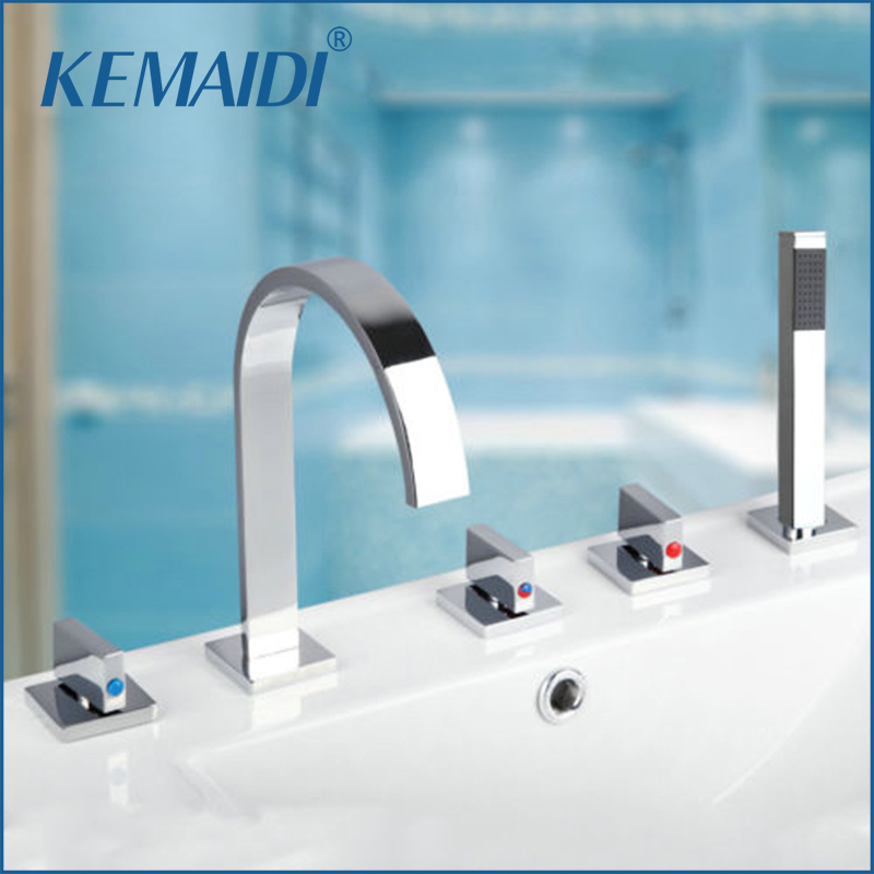 KEMAIDI New Arrival 3 Handles Taps Bath Tub 5PCS Chrome Faucet Basin Sink Mixer Taps With Sprayer Bathroom Set
