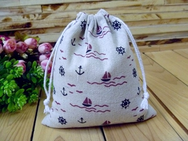 Sail Printed Linen Gift Bag 9x12cm 10x15cm pack of 50Tea Coffee Pocket Jewelry Drawstring Packaging Wedding Party Favor holder