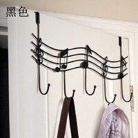 Over The Door 7 Hanger Rack Decorative Metal Hanger Holder for Home Office Use (Black)