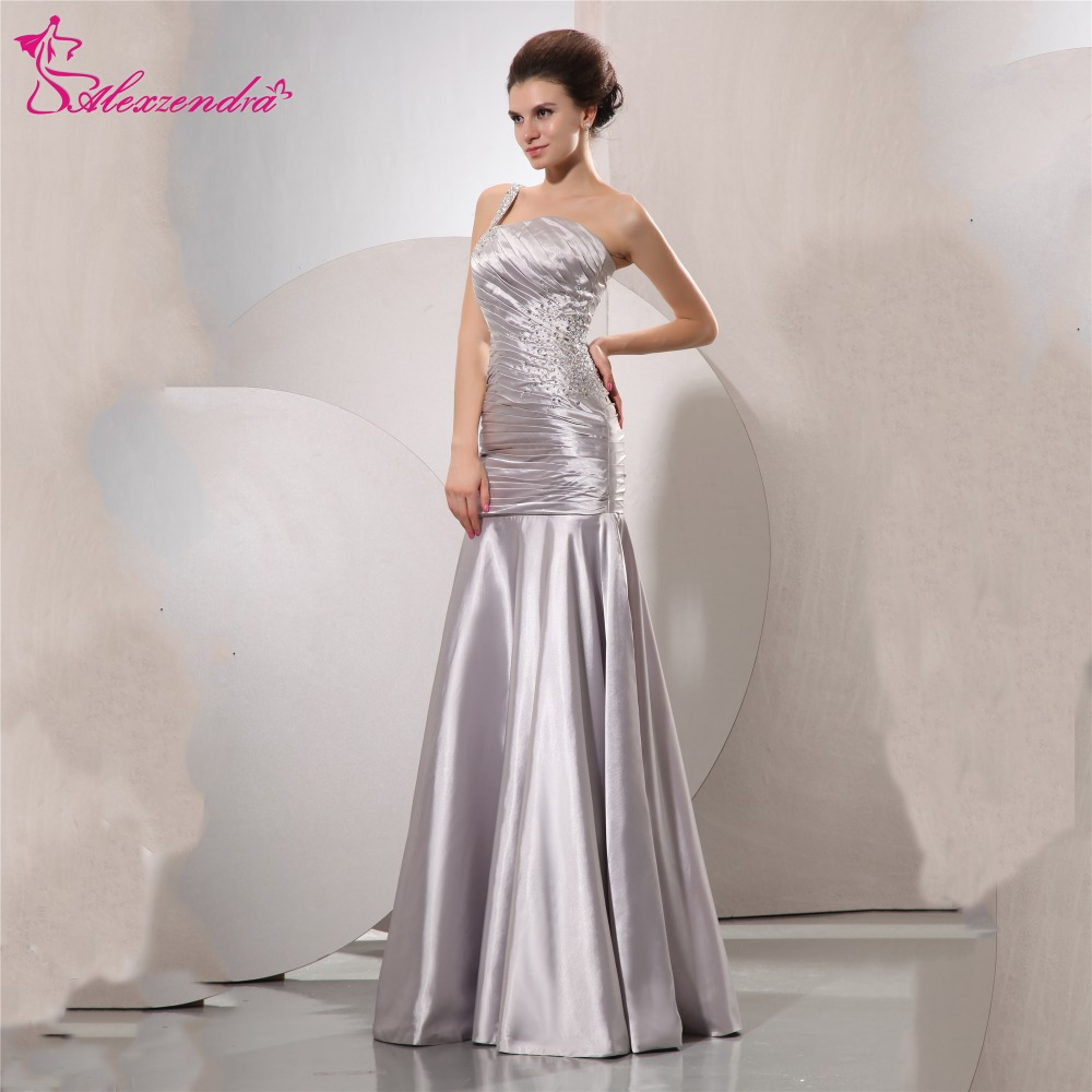 Alexzendra Silver Satin Beads One Shoulder Long Mermaid Prom Dresses ...