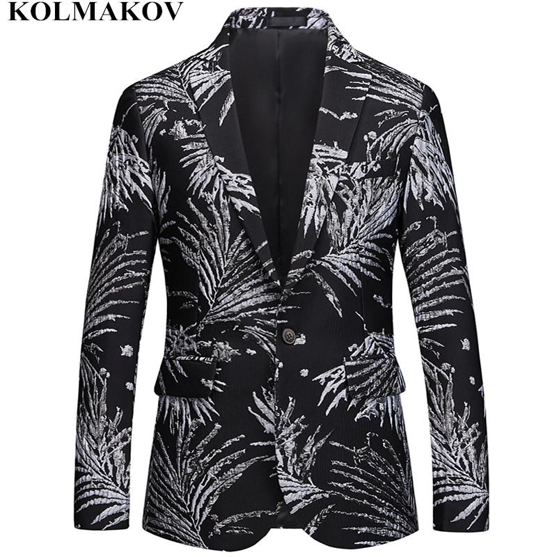 NEW Brand Printed Blazers mens Autumn Suits Jackets slim Homme men s Blazer Masculino Top Quality