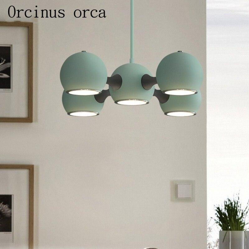 Новейший Скандинавский современный минималистичный светодиодный Люстра для спальни, бара, ресторана, американского стиля, люстра с космич... - 5