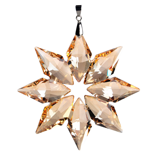 3 5inch Diy Champagne Snowflake Hanging Glass Pendants Crystal Suncatcher Prism Chandelier Parts Ornament Party