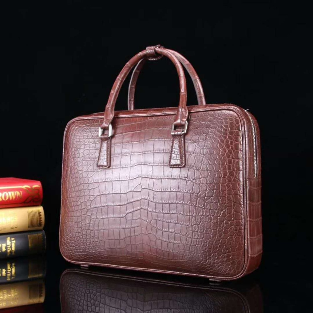 Business Briefcase Code Skin-Belly-Leather Laptop-Bag Crocodile Luxury Genuine Real Men