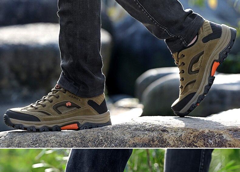 Großhandel 2019 Outdoor Schuhe Männer Wasserdichte Rutschfeste Trekkingschuhe Herren Wandern Klettern Berg Leder Turnschuhe Mann # 325686 Von