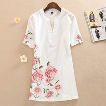 Summer Dress 2015 Fashion Short-Sleeve Loose V-Neck Dress Knee-Length Printing Vintage Embroidery Women casual Dress Plus size ycdc cell coin ag13 lr44 lr1154 sr44 a76 357a 303 357 alkaline coin cells battery x24