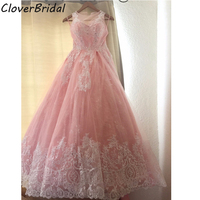 Mexico designer luxury sleevless lace appliques pink sweet 16 ball gowns with train huge skirt quinceanera gowns