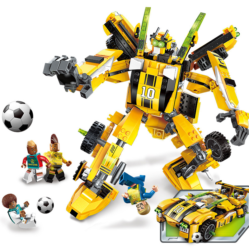 567pcs Children s educational building blocks toy Compatible city Century Football Gold Foot Deformation Robot gifts