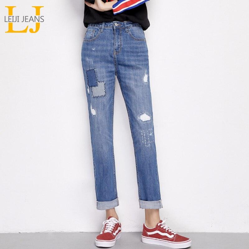 LEIJIJEANS 2019 New Arrival Spring Plus Size Ripped Spliced Panelled Bleach Mid Waist Full Length Regular Boyfriend Women Jeans