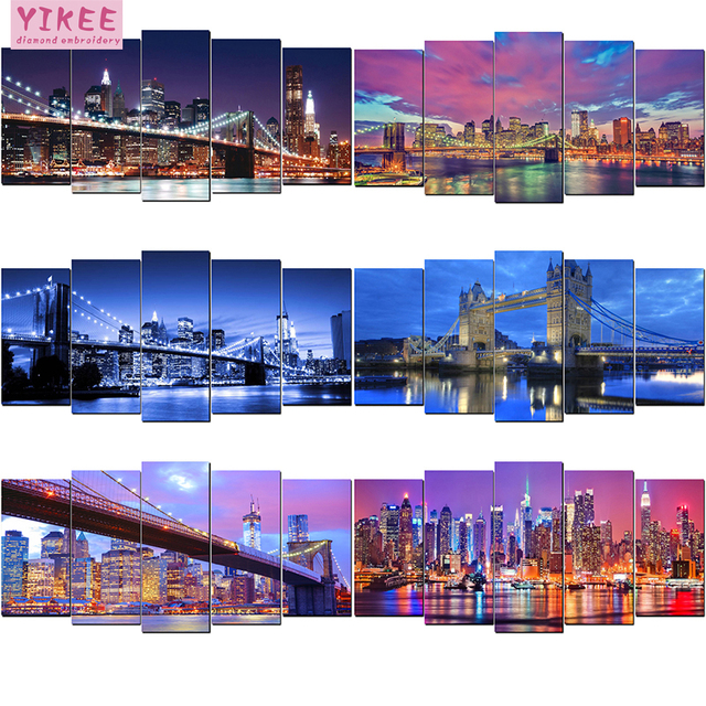 YIKEE diamond painting 5 pieces,full square,embroidery diamond,multi pictures,diamond painting night city scenic