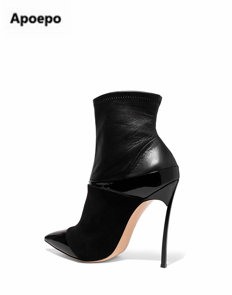 Apoepo brand winter women boots leather suede ankle boots for women metal thin high heels shoes women boots sexy ladies shoes apoepo 2018 ankle boots for women black leather suede riding boots sexy high heels shoes women boots pointed toe zapatos mujer