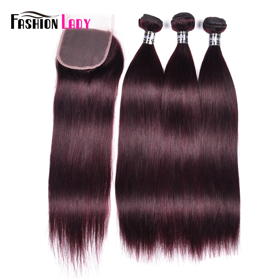 Fashion Lady Pre-colored Peruvian Straight Hair With Closure 3 Bundles Human Hair Purple Bundles With Closure 4*4 Non-remy