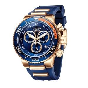 Image 5 - שונית טייגר/RT למעלה מותג יוקרה כחול ספורט לצפות עבור גברים רוז זהב עמיד למים שעונים גומי רצועת Relogio Masculino RGA3168