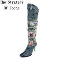 Women Denim Thin High Heels Over The Knee Rhinestone Beading Boots Autumn Winter Warm Jean Knight